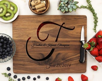 Personalized Cutting Board, Custom Cutting Board, Engraved Cutting Board, Initial Name - Walnut Wood --21030-CUTB-002