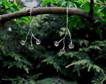 Flowering branch earrings in sterling and 14k
