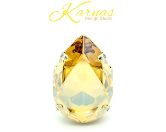 CRYSTAL GOLDEN SHADOW 30x20mm Pear Adjustable Ring Swarovski Elements *Pick Your Finish *Karnas Design Studio Statement Piece *Free Shipping