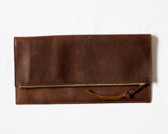 Foldover Clutch - Henna Brown Leather