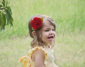 Rose Belle Bow Headband - Red - Headband - Hair Clip - Baby - Newborn - Adult - Toddler - Costume - Princess