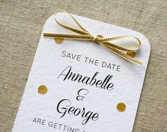 Gold Polka Dot and Bow Wedding Save the Date Card