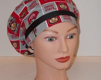 Ribbon Trimmed European Style Scrub Hat...Ohio State w/Black Ribbon...Surgical Scrub Caps...OR Scrub Hats