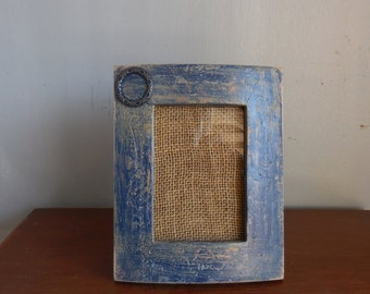 rustic wood picture framedistressed bluegift for herupcycledtwo 3 12 x 5 photosvintage hardware embellish