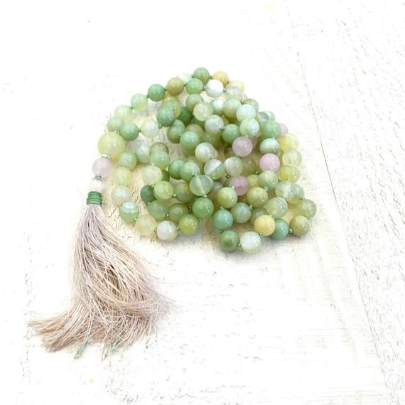 Green Agate Knotted Mala Necklace, 108 Bead Green Mala, Silk Tassel Knotted Mala Beads, Yoga Meditation Beads, Long Beaded Mala Necklace