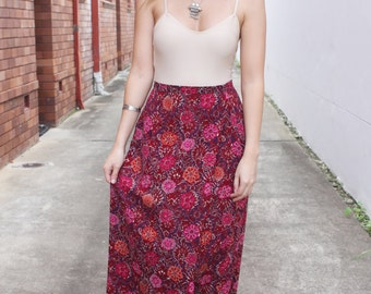 Vintage 90s does 70s Magenta Pink Floral High Waisted Maxi Skirt XS-S