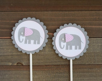 Elephant Cupcake Toppers, Baby Girl Elephant, Baby Shower Cupcake Toppers (Set of 12)