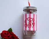 Personalized Pink and White Mason Jar Tumbler, Striped Monogram, Personalized Tumbler, Pink and White Stripes