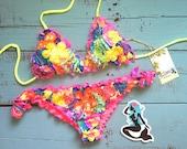 Tropical Bikini, Cheeky bikini, hula bikini, Bright Bikini, Hawaiian Swimsuit, Cute Bikini, Unique Bikini  Floridita Hula Girl swimsuit!