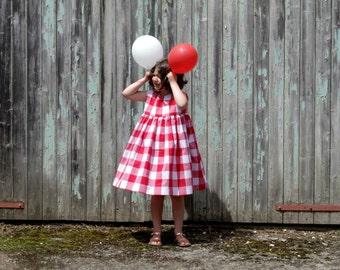 Robe d'été en vichy rouge pour fille, Robe à gros carreaux, Robe sans manches, Rouge et blanc, Robe taille 2 - 5 ans, Vêtements petite fille