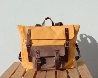Weekender Waxed Canvas Backpack with leather details, yellow, Phestyn