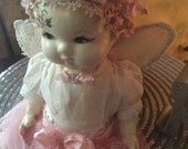 "Hand Painted Antique Composite Altered Art Angel Doll ""Peace On Earth"""