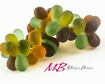 25 pcs Matte Green Mix Teardrop Beads, 9x6mm Earth Tones Czech Glass Beads