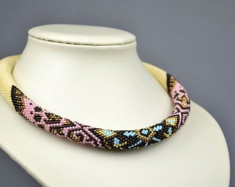 Unique Beaded Necklace Tribal Necklace Statement Necklace Ethnic Necklace Boho Jewelry Gift for Her Christmas Gift for Women Girlfriend Gift