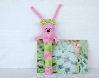 Crochet rattle Easter Bunny kids Baby shower girl favors Baby teething toy Unique baby gift Wooden teether Eco friendly toy Organic teether