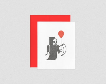 Letterpress Birthday Card - Grim Reaper with Red Balloon