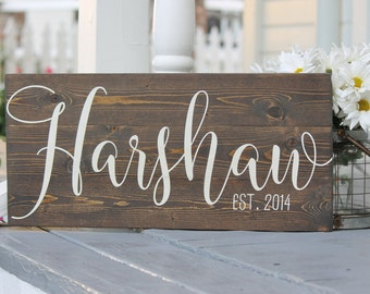"Wedding date sign, Hand painted wood sign, established date sign, Rustic decor, wedding gift, Custom last name sign, Measures 10.5"" x 22"""