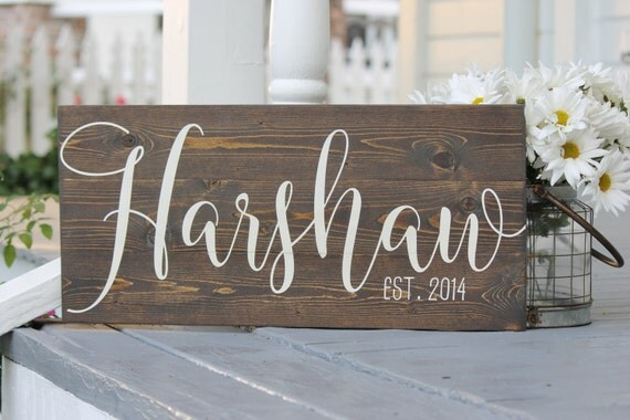 Wedding Date Picture Gift: Wedding Date Sign Hand Painted Wood Sign Established Date