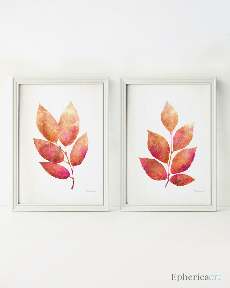 Wall Art Of Leaves : Leaves wall decor art prints digital download home