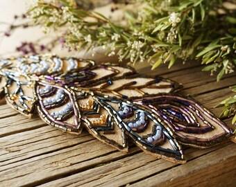 "Bohemian Embroidered ""Dreamy"" Headband Bracelet (2 in 1), Boho Chic Hippie Gypsy Leather Jewelry Bracelet, Beaded Hair Accessory, OOAK Gift"