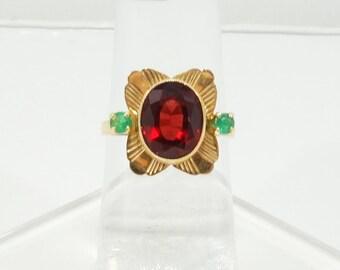Vintage Mid-Century Garnet & Emerald Ring 14k Solid Yellow Gold 1950's