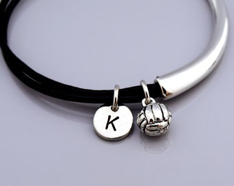 Volleyball bangle, volleyball charm bracelet, Volley Ball bracelet, sports charm, Leather bracelet, Leather bangle, Initial bracelet