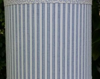 Lampshade Blue, Striped Cotton, Seersucker Fabric, Blue Dot Trim, Cooper Blue Ribbon, Table Floor Lamp, Pendant Lamp, Custom Beach Decor