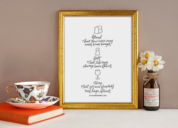 Bread Salt And Wine Hand Lettered Print Christmas Art Print