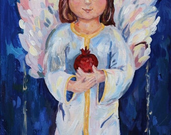 Angel with pomegranate giclee art PRINT from original acrylic painting on canvas