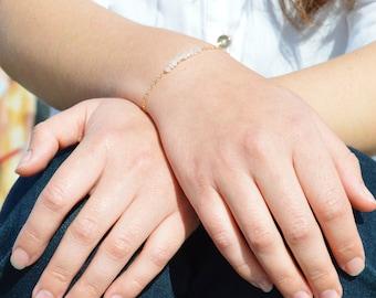 Rose Quartz Bracelet, Danity Stacking Bracelet, 14k Gold Fill, Sterling Silver, Rose Gold, Pink Bracelet, Bar Bracelet, Gold Bracelet