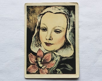 Thumbelina. Hans Christian Andersen. Illustrator Rudakov. Vintage Soviet Postcard - 1956. Izogiz Publ. Fairy tale