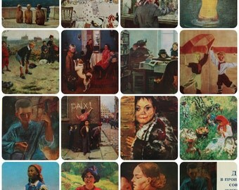 Children in the Paintings of Soviet artists. Set of 15 Vintage Soviet Postcards - 1971. Aurora Art Publ, Leningrad. Pakhomov, Reshetnikov