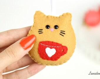 Felt cat ornament, Christmas tree decoration, home ornament, cat keychain, animal ornament, animal keyring, magic Christmas, gift idea, home