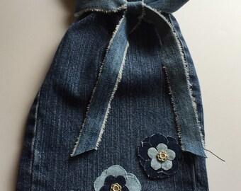 Denim Gift bag with Denim Flowers
