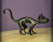 Hand Sculpted Miniature Leather Black Cat