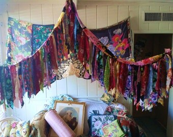 Boho Bed Canopy Rose wedding Hippy vtg scarves Bohemian hippie Hippiewild Decor curtain photo backdrop Fringe floral flowers Made to Order