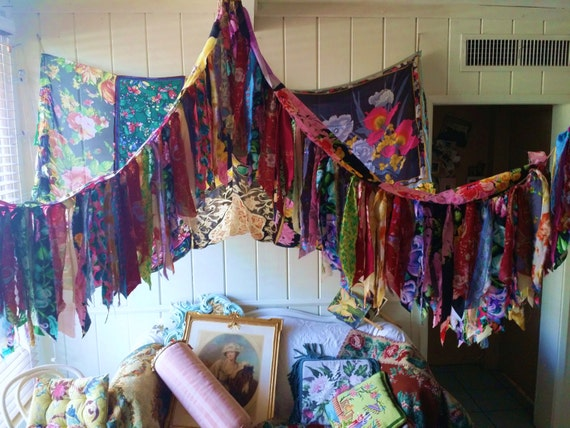 FOR ANNIE Reserved Bed Canopy Rose wedding Hippy vtg by ...