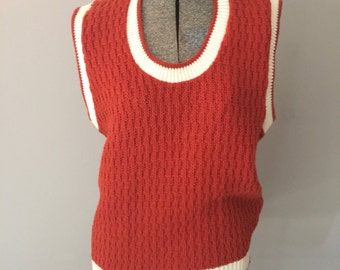 Sweater Vest Womens Vintage Orange Small