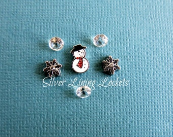 SALE! Let It Snow 6 Piece Floating Charm Set, Snowman & Snowflake Charms With Three Swarovski Crystal Accents Gift Set