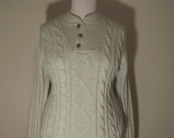 Vintage Cable Knit Rustic Pullover Henly Fisherman Sweater L/XL