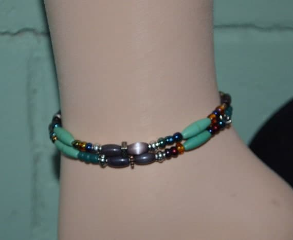 Necklace or Ankle Bracelet Daisy, 2 Strand Anklet with Mixed Beads, Gypsy Anklet, Daisy Gypsy Necklace