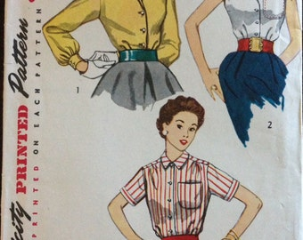 Simplicity 4256 - 1950s Blouse in Short or Sleeveless Styles - Size 12