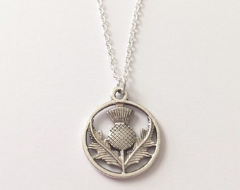 Silver Thistle Necklace/Outlander Thistle Necklace/Antique Silver Thistle Necklace