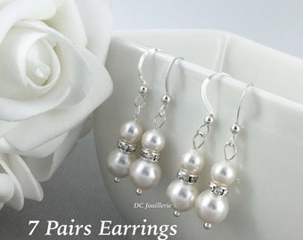 Set of 7 Swarovski Earring, Will you be my Bridesmaid Jewelry, Pearl Earrings, Bridesmaids Gifts, Bridesmaids Earrings, Dangle Earrings