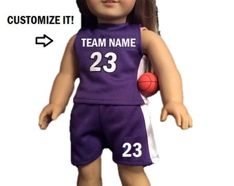 18 Inch Basketball Set Custom Designed - Doll Outfit - Doll Sports FITS American Girl Dolls and most 18 Inch Dolls