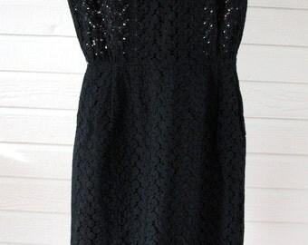 1950s Dress Eyelet Wiggle 1950s Floral 1950s Black
