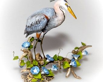 Great Blue Heron and Morning Glory