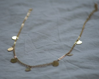 Gold Plated Circle Charm Necklace