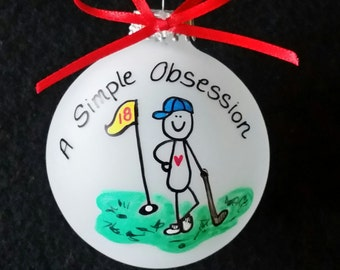 Golfing ornament, golf Christmas ornament,custom personalized ornament,handpainted,hand painted,glass ornament,painted glass ornament