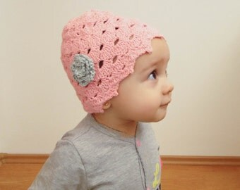 Pink baby hat with grey flower, pink hat, crocheted hat, flower girl hat, pink hat, toddler pink hat